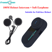 FreedConn Soft Earphone FM T-COM OS Bluetooth Motorcycle Helmet Intercomunicador Motocicleta Motorcycle Riders Intercom Headsets(China)