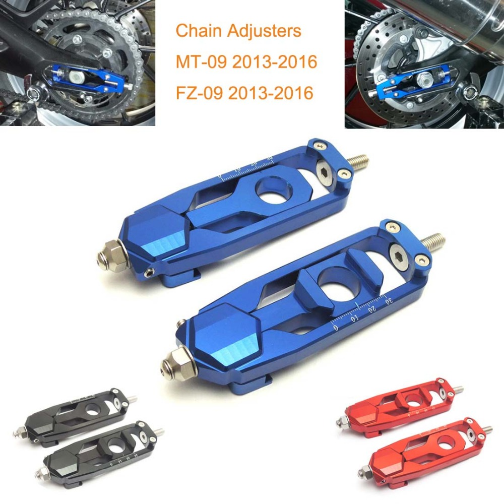 MT09 CNC Aluminum Chain Adjusters Tensioners Catena For YAMAHA MT-09 TRACER FZ-09 FJ-09 2014-2015 Black/Blue/Red<br><br>Aliexpress
