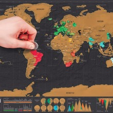 Home Use Deluxe Scratch Map Personalized World Scratch Map Mini Scratch Off Foil Layer Coating Poster 82.5 x 59.5 cm