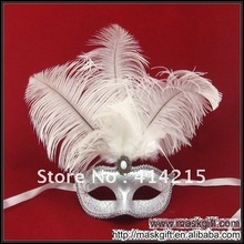 Free Shipping Wedding Ball  Beautiful White And Silver Wedding Mask, Feather Mask, Masquerade Mask
