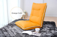 Chair Leather Sofa Orange Color Modern Living Room Leather Accent Comfy Fashion Leisure Single Relax Floor Lounge Chair Bed(China)