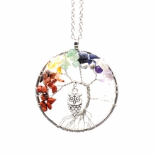 Hot Fashion Rainbow Color Tree Of Life Owl Pendant Necklace Crystal Natural Stone Statement Necklace Good Luck Christmas Gift(China)