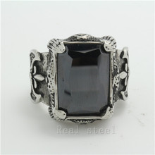 Wholesale Lots Hot Selling CZ Big Stone Black Onyx Ring 316L Stainless Mens Chro-me Heart Style Black Crystal Ring Free Shipping