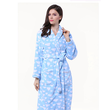 New Soft Women Winter Warm Bathrobe Heart Pattern Printed Thick Adult Bath Towels Sleeping Wear Home Textile High Quality