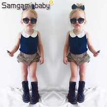 SAMGAMI BABY New European and American Style Summer Fashion Design Babys Girls Garment Kids Clothes Sets T-shirt+pant Two Piece