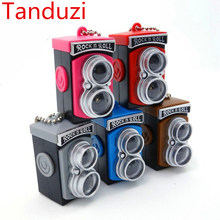 Tanduzi 3pcs Dollhouse Miniature Simulation Retro LOMO Camera Styling LED Light Camera Keychain Bag Accessory DIY Plastic Crafts