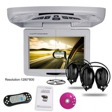 "XTRONS Grey 11.3"" HD Digital TFT Car TV Monitor IR & FM Transmitter Game Rotating Screen Car Roof DVD Playe +2 IR Headphones"