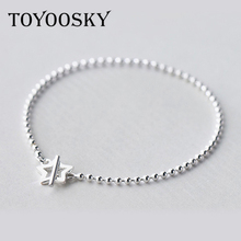 TOYOOSKY Top Quality Sparkling Star Bangle Bracelet Fit Women Bead Charm 925 Sterling Silver Bangle Jewelry(China)