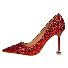 HAJINK High Heels Shoes Women Pumps Glitter High Heel Shoes Woman Sexy Ladies Wedding Party Shoes(China)