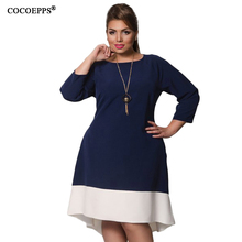Buy COCOEPPS 6XL Large Size Female dresses New 2017 Autumn Patchwork Dress winter plus size women clothing Elegant Evening Vestidos for $14.98 in AliExpress store