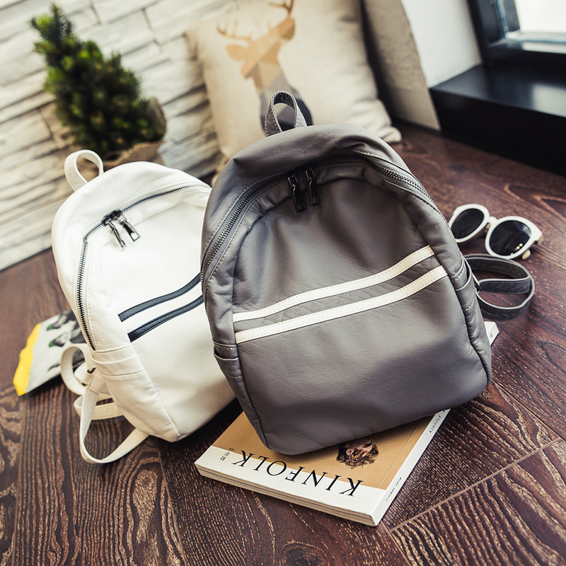 Women korean style summer new collection preppy style PU leather super soft backpack student teenage black grey white school bag<br><br>Aliexpress