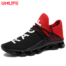 UMLIFE Men's Cushioning Running Shoes For Women Breathable Textile Mesh Women's Outdoor Sport Shoes Lace-Up Athletic Sneakers(China)