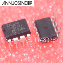 Free shipping 24LC64-I/P 24LC64 DIP8 64K I2C Serial EEPROM PIC24LC64-I/P