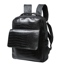 Hot!! Small daypack Black Travel Laptop Backpack mochila Men's Leather Backpack Schoolbag Popular Alligator Leather Backpack men