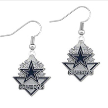 Fashion 20pair a lot rhodium plated one side enamel Dallas Cowboys football sports drop earrings(China)