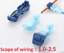 10pcs/lot L1 Blue T Type Quick Splice Crimp Terminal Wire Convenient Connector For 1.2-2.5mm Line Free Shipping