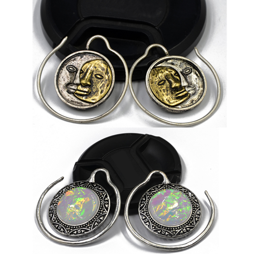 hot sale women brass puj ju solstice hoops with sythetic opal ear weights piercing body jewelry