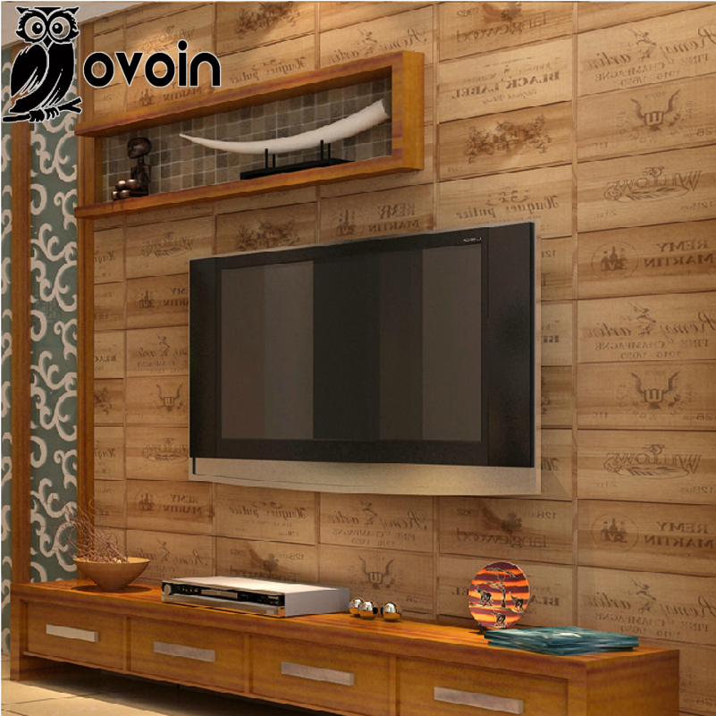 Wood box pvc wallpaper 3D Vintage Retro Decorative Wine Box Plaid Zakka background wall wallpaper vinyl for living room WP207<br><br>Aliexpress