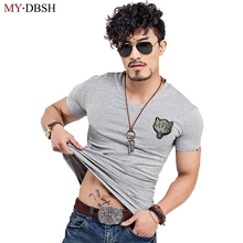 2017 Newest Summer Fashion Colorful Wolf Embroidery T Shirt Mens Cool Design High Quality Tops Custom Hipster Tees Plus Size 5XL