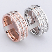 High quality jewelry super flash titanium steel crystal ring girl small square little finger ring(China)
