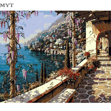 Mediterranean Painting By Numbers On Canvas DIY HandPainted Unframed Pictures For Home Decor Christmas Gift Coloring By Number