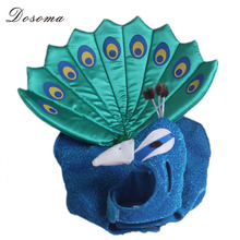 Cute Cosplay Blue Peacocks Cats And Dogs Performance Apparel Dog Fashion Clothes Small Dog Cat Puppy Adjustable Outfit Costume(China)