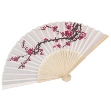 SZS Hot Delicate Plum blossom Blossom Design Silk Folding Fan Favors White rose red