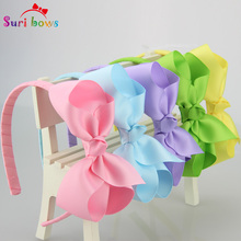 30 Pcs/set Suri bows Multi Color Head Band with Flower Bows Girls Solid Polyester Kids Hair Accessories FS007(China)