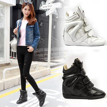 Winter Fashion Women Wedge Boots Height Increasing 2017High Top Lady Boots Luxury Buckle Design Zapatillas Genuine Leather Shoes
