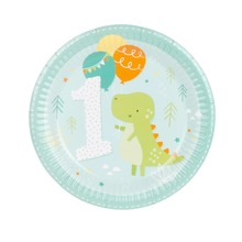 8pcs 7inch Cartoon Crocodile 1st Birthday Wedding Party Supplies Decoration Cake Dish Disposable Paper Plates Baby Shower Favors(China)
