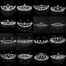 Wholesale Bridal Wedding Crystal Rhinestone Crown Heart Crown Pageant Silver Plated Women Children Tiaras Hair Comb Headband