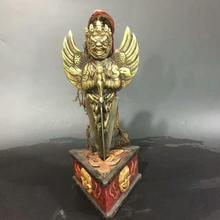 100% old items from Tibet/Nepal Buddhism,  Buddhist  Bronze Flying Eagle God musical instruments sculpture with wood Stand