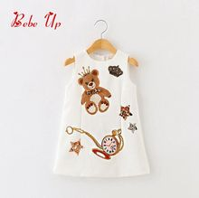 2017 Summer Sleeveless Baby Character Bear Dress Kids Princess Girls Star Crown Print Children Clothing Lolita Style Clothes