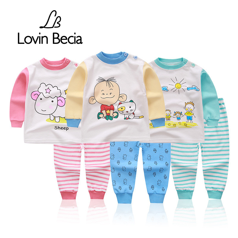 Lovinbecia children's clothing suit autumn warm underwear sets boys girls cartoon clothes and pants indoor Casual baby clothing(China)