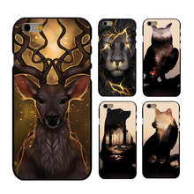 Unique Colorful Case for iphone 4s 5s 6 6splus 77plus Scratch Resistant Animal Deer Lion Bear Wolf Painting  PC Back Cover Case