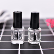 1pcs 5ML Empty Glass Nail Polish Bottle Transparent With A Lid Brush Empty Cosmetic Square Nail Oil Glass Bottles Containers(China)