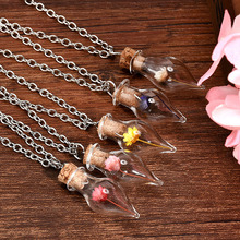Buy 1PC New Women Lady Girls.Dry Flower Lucky Wish Glass Bottle Chains Necklaces Pendant Necklace for $1.07 in AliExpress store