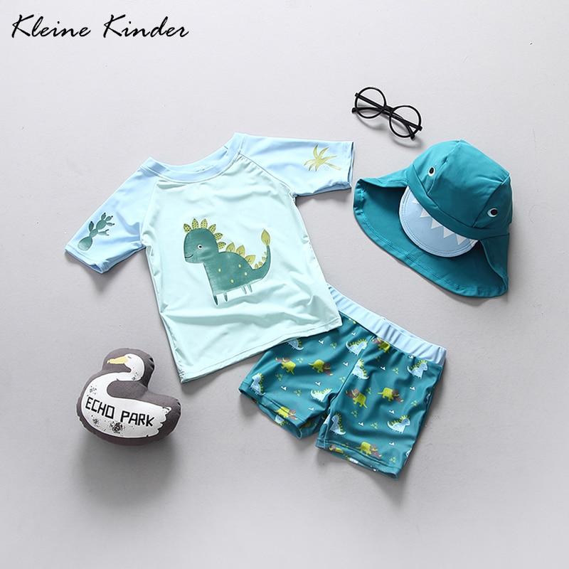 Children Baby Boy Swimwear Dinosaur Surfing Sunscreen Clothing Jumpsuit Cap Set