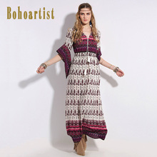 Bohoartist Women Loose Dress Summer Dark Red V Neck Print Apparel Butterfly Half Sleeve Elegant Bohemian Ladies Maxi Dresses(China)
