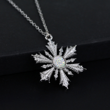 Once Upon A Time Show Snowflake Elsa Pendant Necklace Silver Stone New Fashion Movie Jewelry 12pc/lot(China)