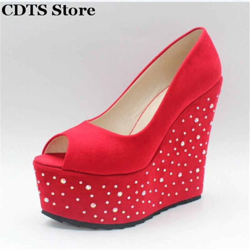 Crossdresser Small Yards:30 31 32 33 Plus:35-43 Summer 15cm wedges sandals buckle sweet pumps women diamond Platform shoes<br>