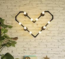 Water pipes heart-shaped light source set produced 72 LOFT industrial water bedroom clothing store coffee bar creative wall lamp