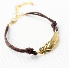 Wholesale Handmade Leather Charm Friendship Feather Leaf Anklet Bracelets & Bangles Accessories For Men Women Jewelry B25