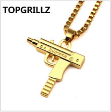 TOPGRILLZ Hip Hop Gold Color Plated Submachine Gun Pistol Pendant Necklace Personality Trend  Men Women Fashion Jewelry