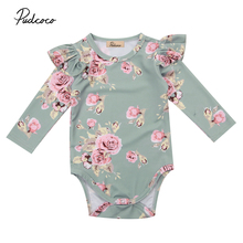 2017 Brand New Newborn Toddler Infant Baby Girl Floral Bodysuit Ruffled Long Sleeve Jumpsuit Outfits Autunm Clothes(China)