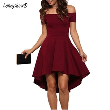 Loneyshow 2017 Hot sale Summer Dress Women Vintage Off The Shoulder Party Ruffles Dresses Women Sexy Elegant Tunics Midi Dresses