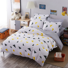 2017 Geometric plaid bed linen set bedding set sale bedclothes duvet cover set bed sheet pillowcases queen/full/twin size(China)