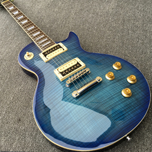Best LP Electric Guitar with Flame Maple top in Transparent Blue color, Guitarra, Chrome Hardware, Some countries Free Shipping