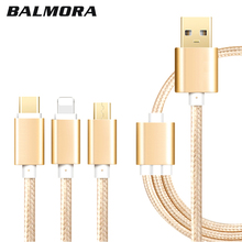 Nylon Braided 3 in 1 Micro USB/For iPhone/Type C To Universal USB Cable  for iPhone 5 6 7 iPad iPod Samsung Nexus 6P/5X Nokia N1