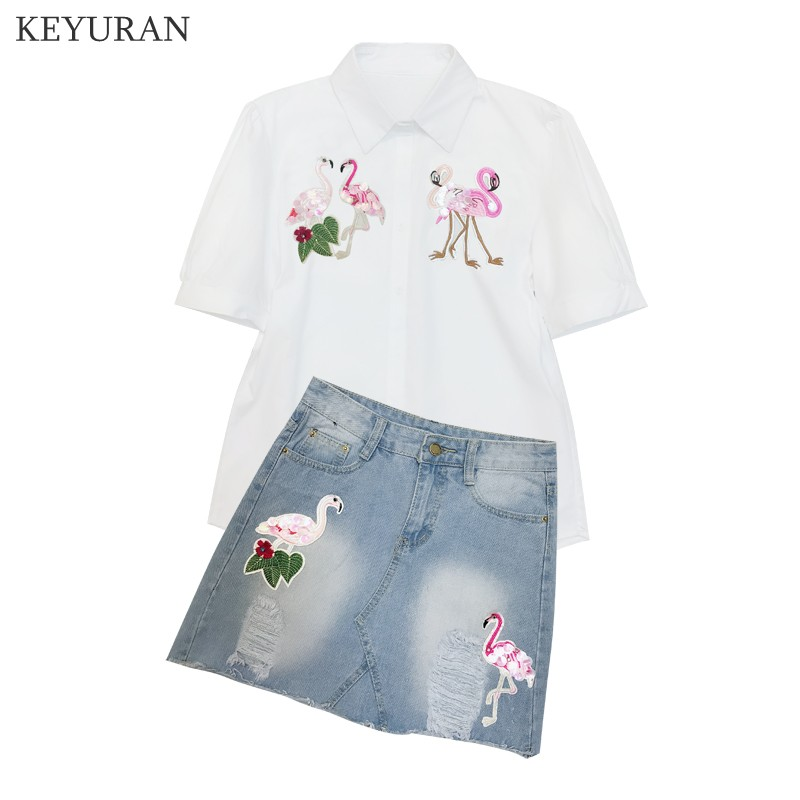 Flamingos 2pcs Summer Women Clothing Sets Female Diamond Shirt Tops + Denim Skirt Fashion Short Sleeve Blouses Clothes Outfits